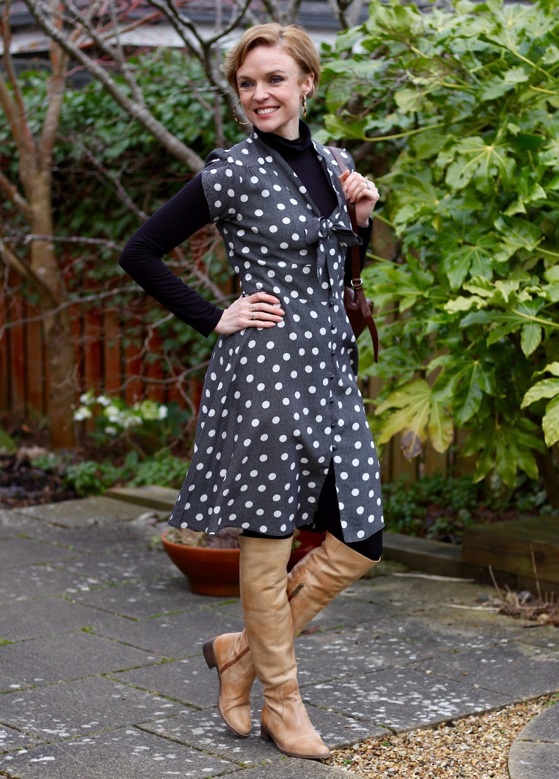 Grey Vintage Spotty Dress and OTK Boots | Fake Fabulous