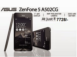 Asus Zenfone 5 A502CG (Deep Black) just for Rs.7728 Only @ Flipkart(Hurry!! Price may go up)