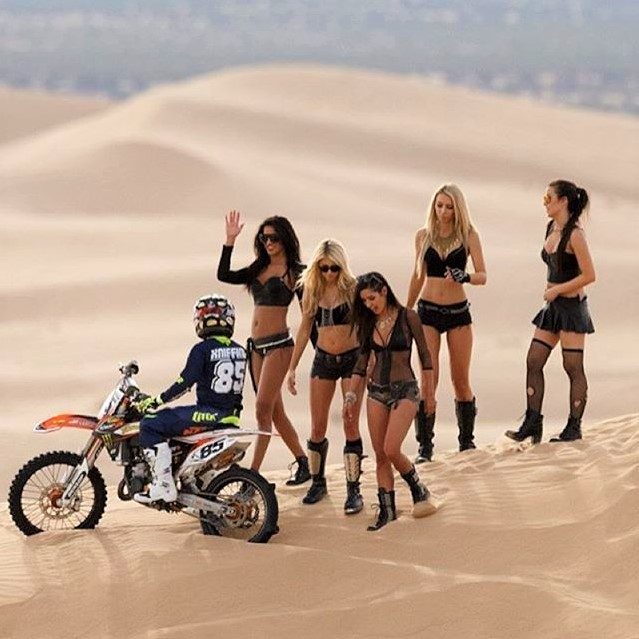 Paddock girls with Motocross Sand Bike