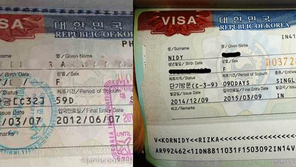 visa korea yang sudah tertempel di paspor