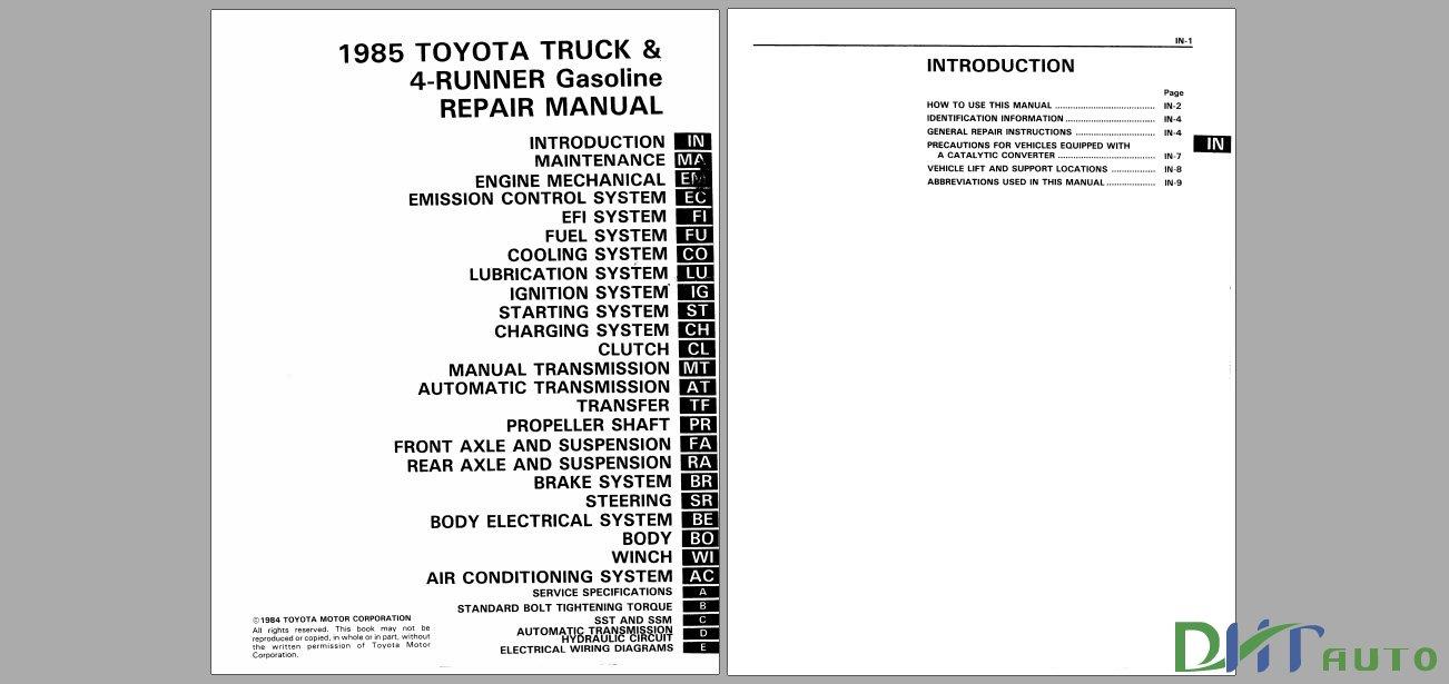 TOYOTA 1985 TRUCK & 4-RUNNER GASOLINE REPAIR MANUAL FREE
