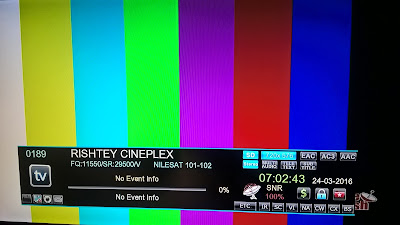 Rishtey Cineplex Test Card added on GSAT 15 satellite (DD Free dish)