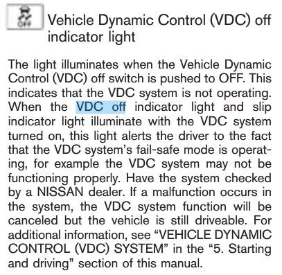 When The Vdc Off Indicator Light And Slip Illuminate With System Turned On This Alerts Driver To Fact That
