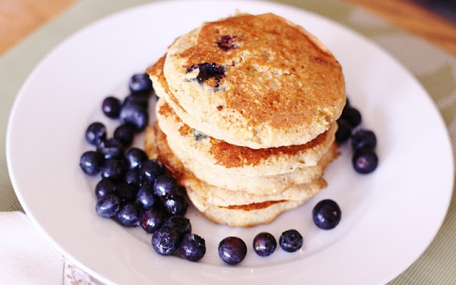 healthy breakfast during pregnancy, vegan blueberry pancakes, avocado barley bowl