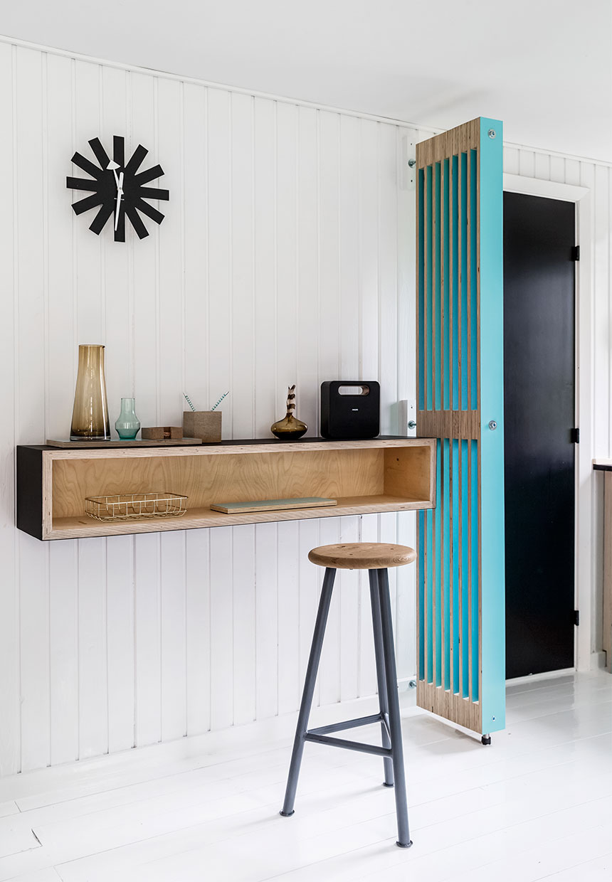 modern and retro design inside of Scandinavian cottage interior