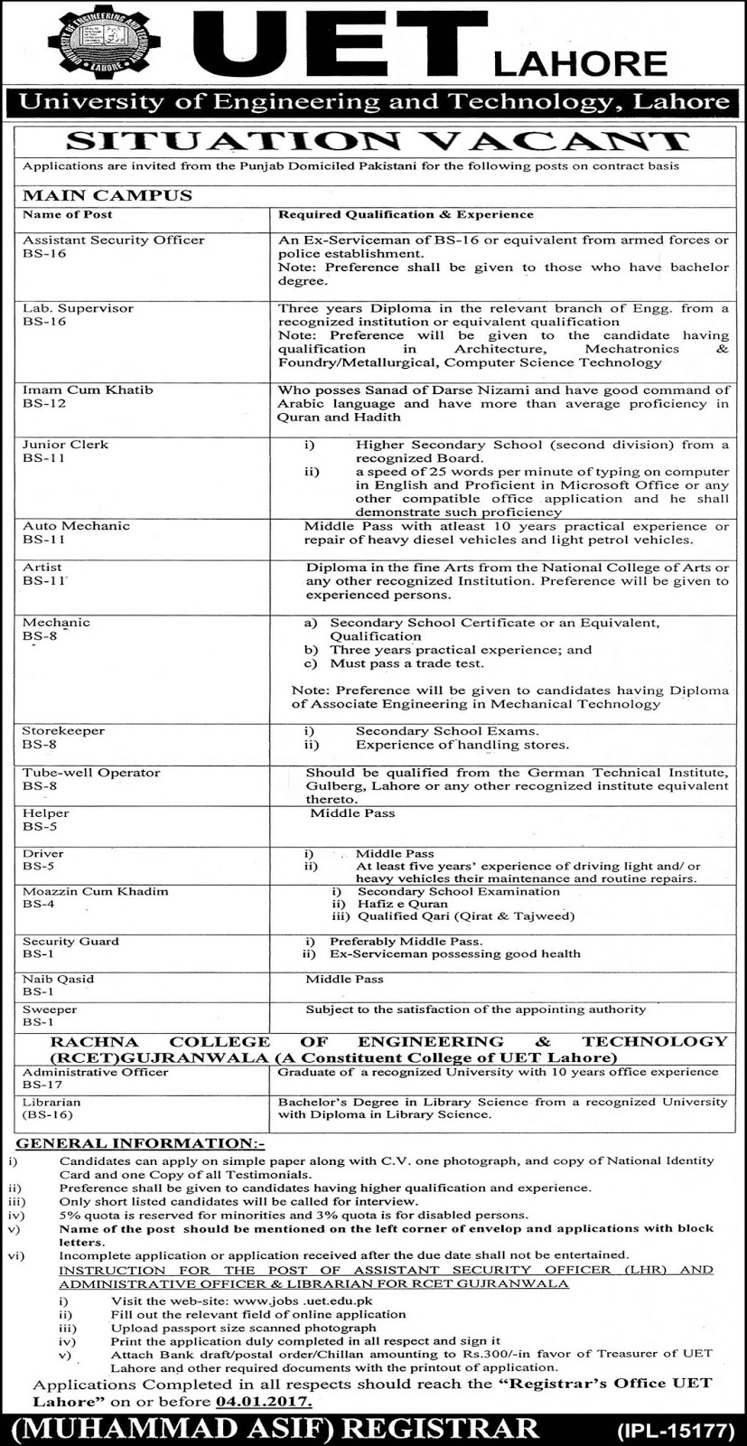 University of Engineering and Technology Lahore jobs