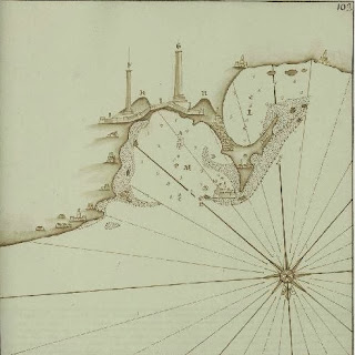 خريطة لمدينة الإسكندرية عام 1760 وموضح فى الصورة الميناء الشرقى والغربى