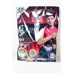 COFFEE ARJUNA MAXX D'HERBS   Coffee Arjuna Maxx 5 in 1 adalah minuman khusus untuk lelaki bagi membantu kesihatan dalaman dan luaran untuk kekal awet muda dan aktif.Ia boleh diambil pada bila-bila masa. Untuk kesan berganda gunakan bersama Jus Arjuna Maxx.  KHASIAT COFFEE ARJUNA MAXX D'HERBS  Membantu kesihatan dalaman dan luaran untuk kekal awet muda dan aktif. Menguatkan tenaga Membantu melancarkan pengaliran darah Menambah bilangan darah Menguatkan badan Memulihkan tenaga Membantu merangsangkan sistem immuniti untuk menghasilkan reaksi nyata bagi melawan sel-sel kanser Meningkatkan sistem peredaran dan metabolisma badan serta bertindak sebagai anti-oxidant.