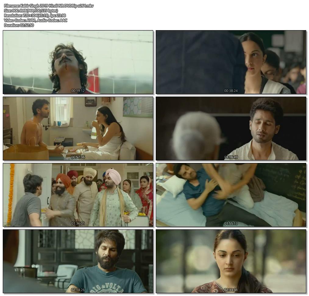 Kabir Singh 2019 Hindi NR DVDRip x264   480p 300MB   100MB HEVC Screenshot