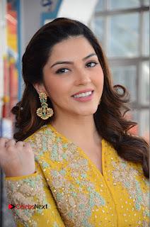 Actress Mehrene Kaur Stills in Yellow Long Dress at Sundeep Kishan New Movie Opening .COM 0012.JPG