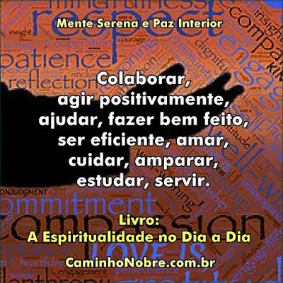 Colaborar, agir positivo, ser eficiente, amar, cuidar, amparar, servir. Mente Serena e paz interior.