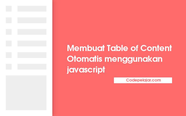 Membuat Table of Content Otomatis dengan Javascript