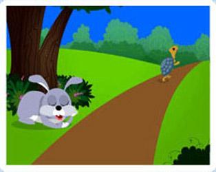 قصة السلحفاة والأرنب ميشو