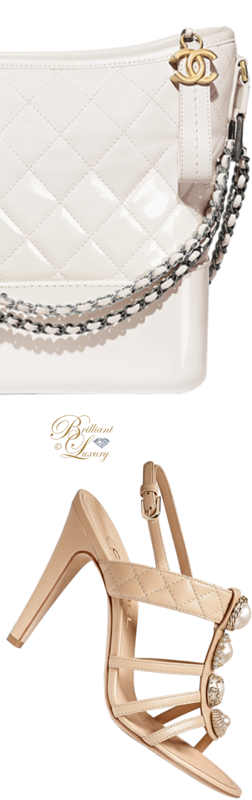 Brilliant Luxury ♦ Chanel white Gabrielle hobo bag and Chanel sandals in gold