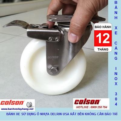 Bánh xe đẩy có khóa PA càng inox 304 Colson 5 inch | 2-5456-254-BRK4 www.banhxepu.net