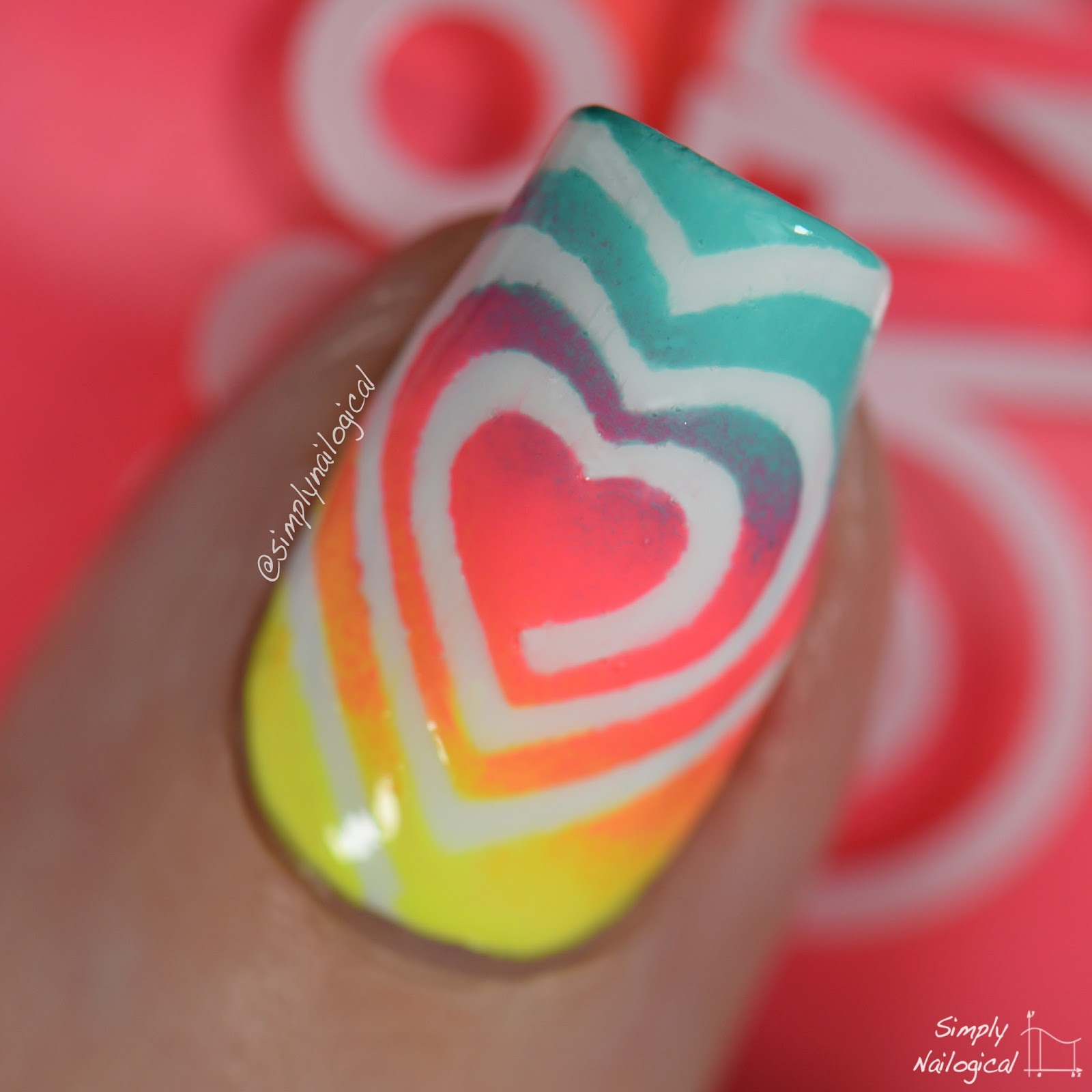 Simply Nailogical Too Easy Neon Heart Swirl Gradient Nails