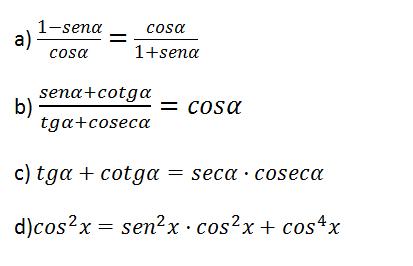 igualdades trigonometría