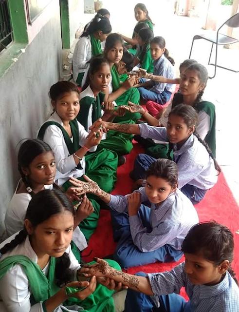 जे एस वी स्कूल में मेहंदी प्रतियोगिता का आयोजन,विजेता छात्राएं हुई सम्मानित  Mehndi Competition organized at JSV School, Arua, Ballabhgarh,faridabad