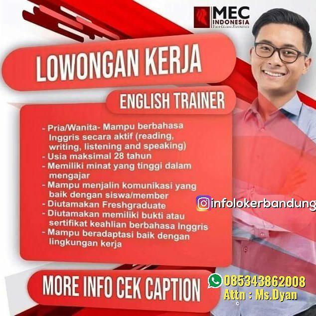 Lowongan Kerja English Trainer Mec Indonesia Bandung April 2019
