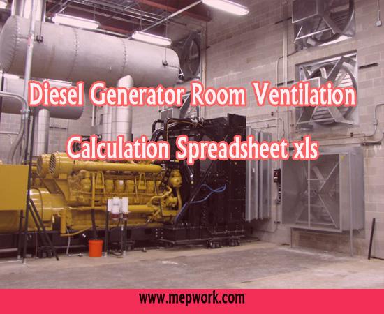 Diesel Generator and Transformer Room Ventilation Calculation Spreadsheet xls