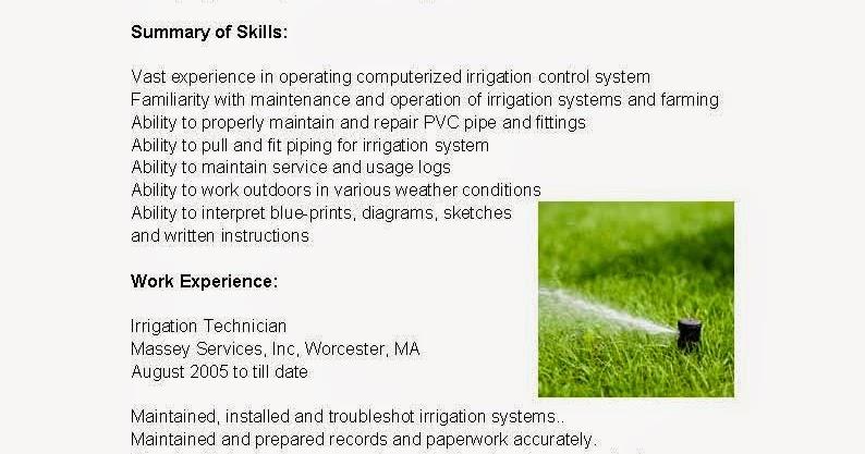 Resume Samples Irrigation Technician Resume Sample