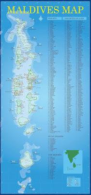 Mapa de hoteles de Maldivas