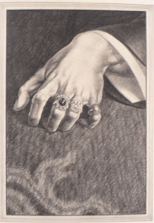 An illustration of a hand with three rings on it.