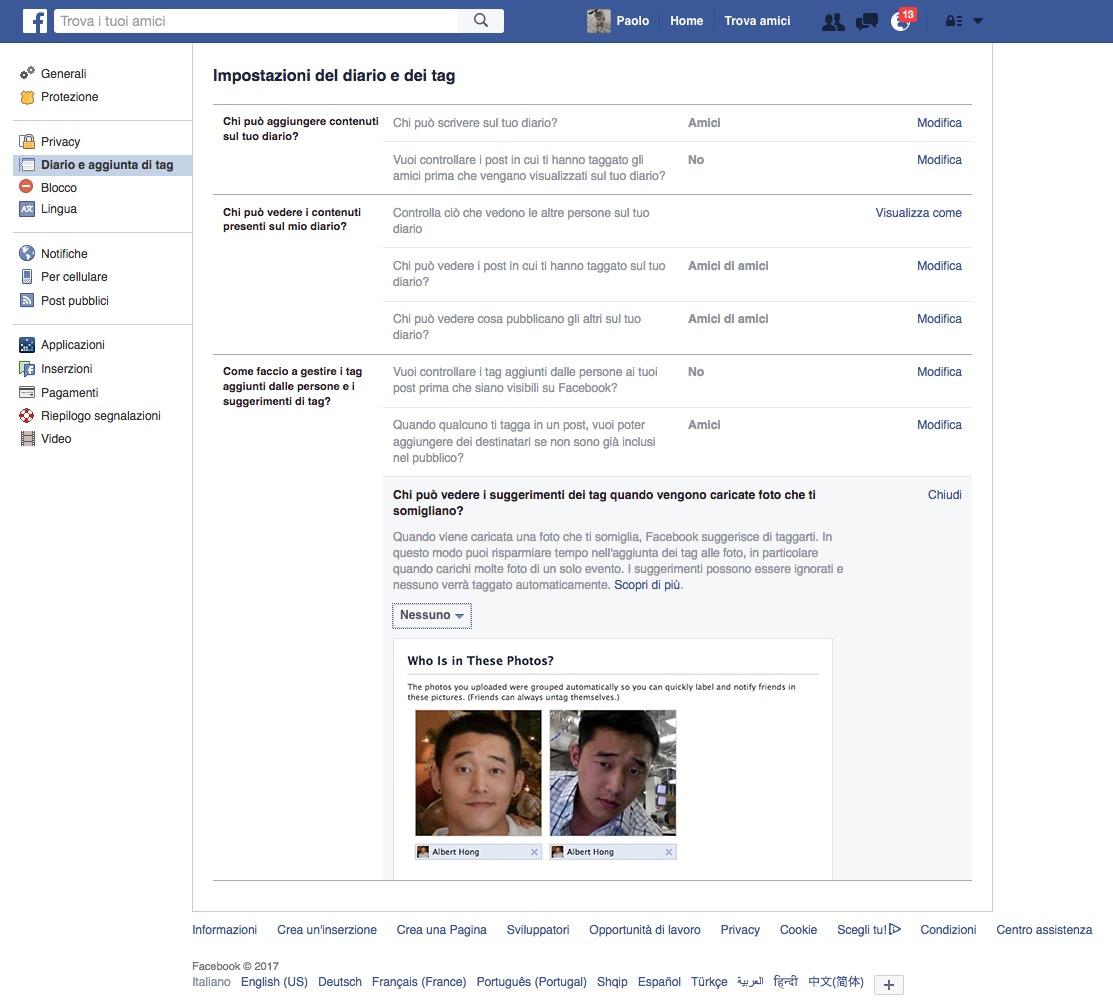 2b466a9ea8ad ... aggiunti dalle persone e i suggerimenti di tag  e la sottosezione Chi  può vedere i suggerimenti dei tag quando vengono caricate foto che ti  somigliano