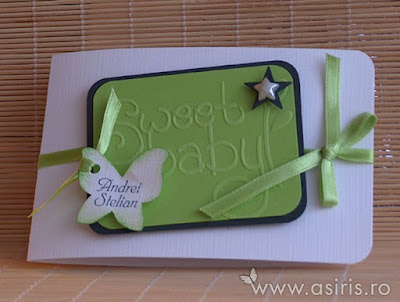 Invitatii botez handmade personalizate Sweet baby vernil cu fluturas