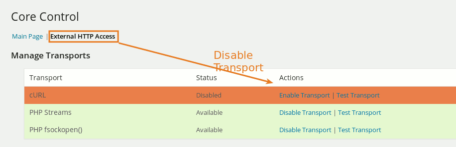 Disable cURL Transport