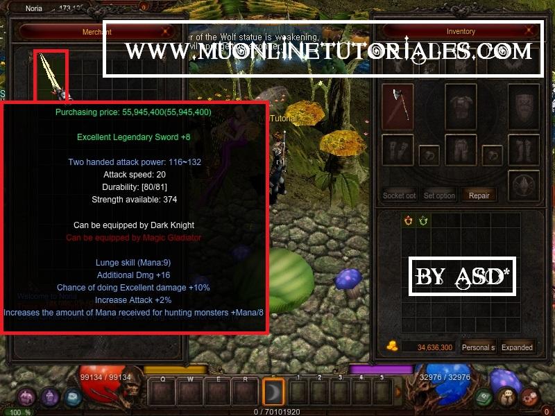 Visualizando las caracteristicas del items editado en el juego