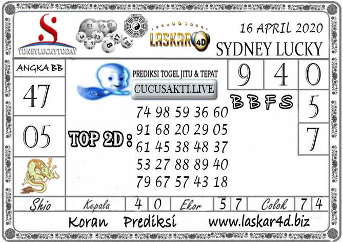 Prediksi Sydney Lucky Today LASKAR4D 16 APRIL 2020