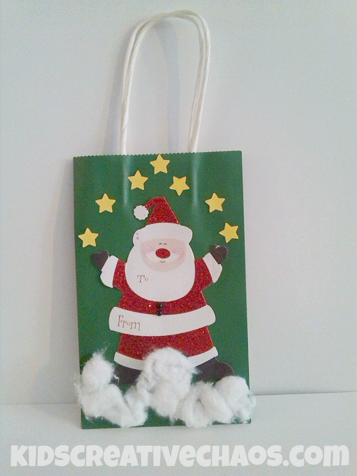 DIY Santa Gift Bag Decorations & Diy Christmas Gift Bag Ideas - Kids Creative Chaos