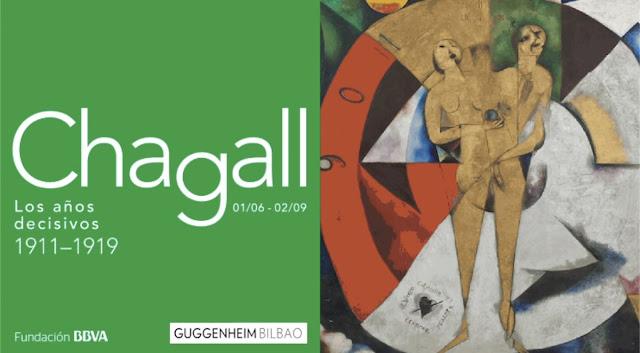Cartel de la exposición sobre Chagall en el Museos Gugenheim Bilbao