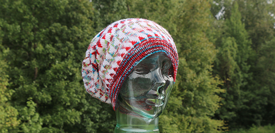 Front View of Knit Dingle Hat Worn with Crown Slouched to the Back