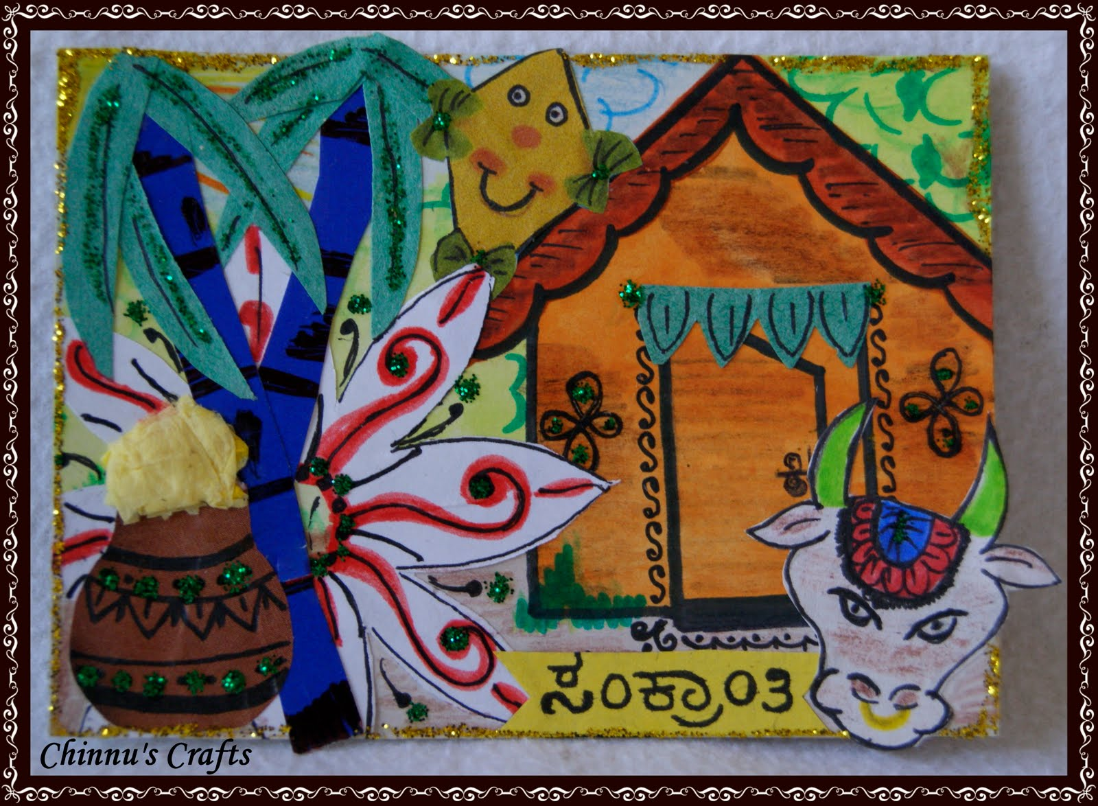 Sankranti card - Ultimate guide to Sankranti Customs, Crafts & Recipe Ideas - Makar Sankranti is the Harvest festival of the Hindus. Read about the significance of Makar Sankranti, the traditions and rituals of this festival - Bornahan, Lohri. Find out why it is celebrated? the traditional recipes - Til Gul, Pongal, Kite festival, Kite crafts to keep kids involved and informed in a fun way.