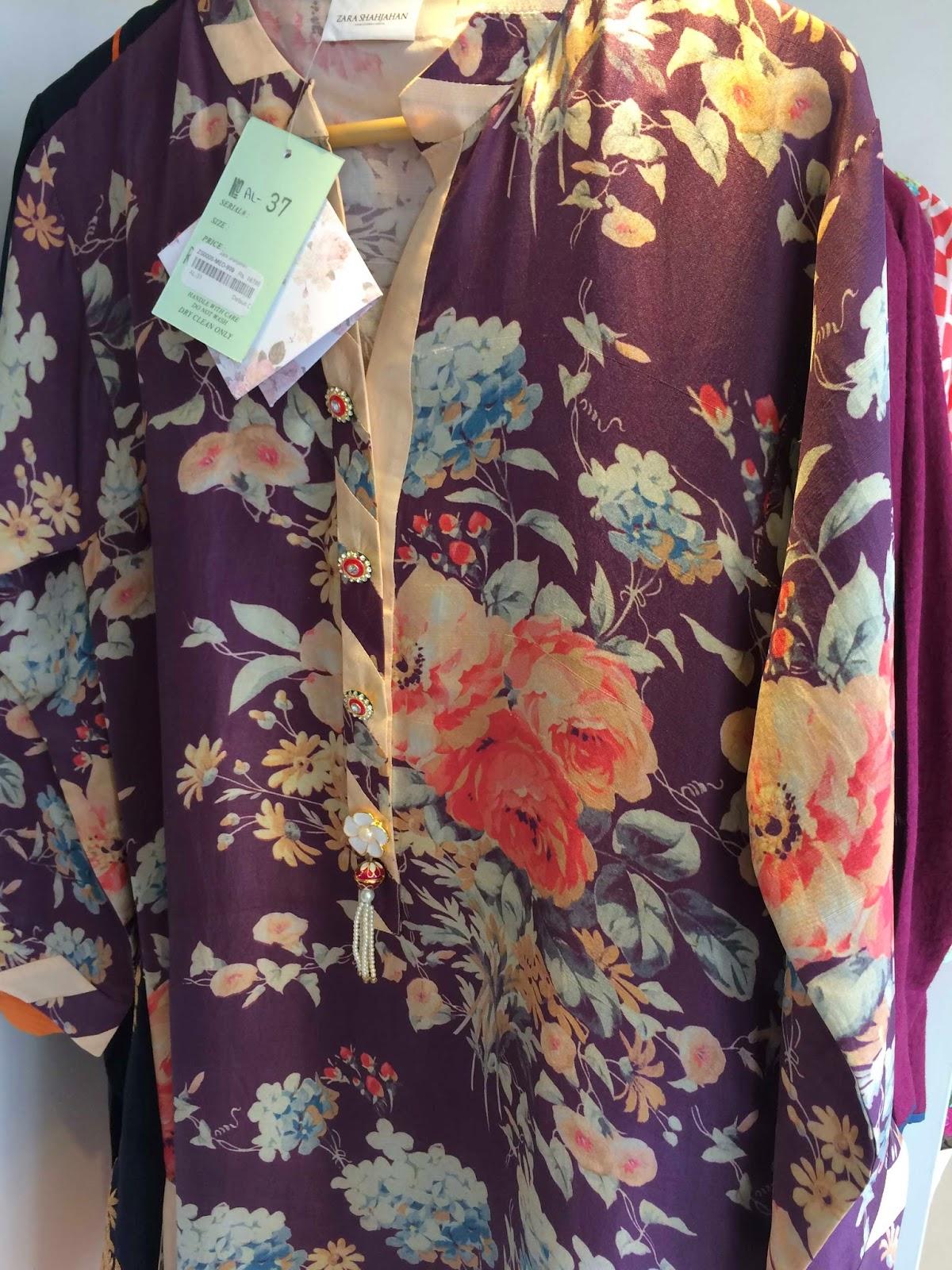 printed silk kurta Zara Shahjahan Store Karachi