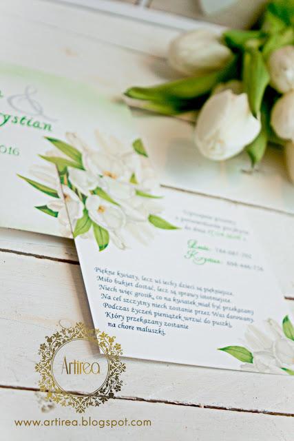 delikatne eleganckie białe tulipany zaporszenia na slub artirea oryginalne