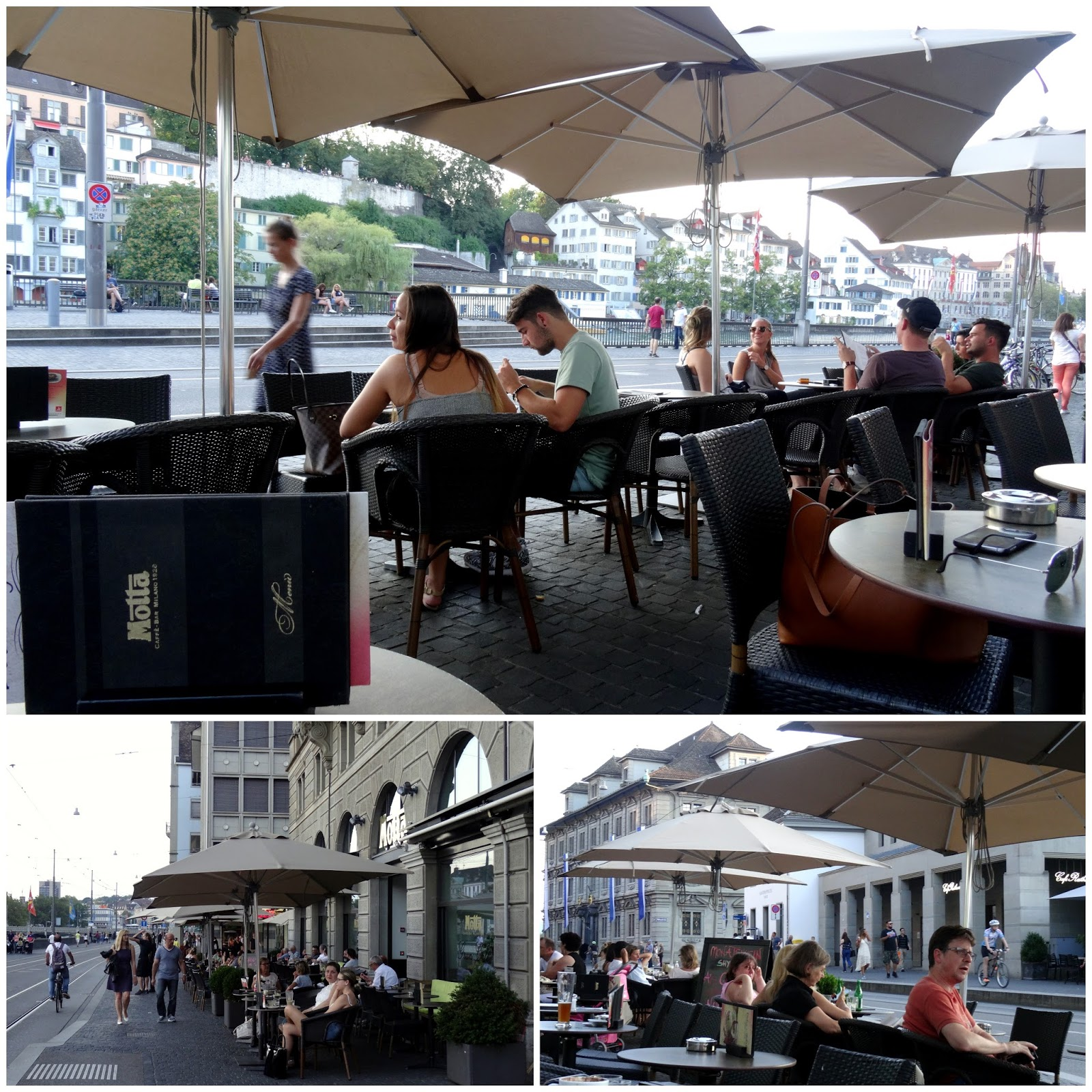 Grilled Gambas Dinner in Zurich and Coffee at the Limmatquai