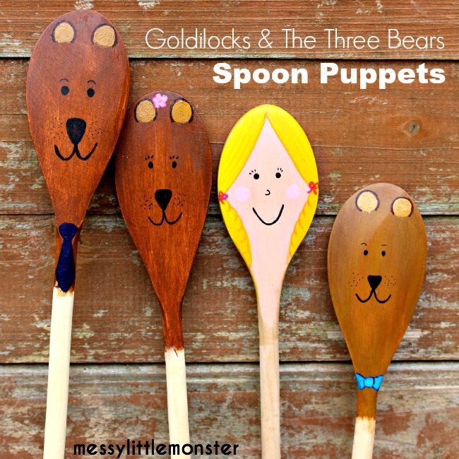 Bear spoon puppets craft (and Goldilocks) for kids