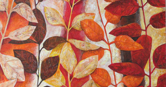 Painting leaves in acrylics. Contemporary style.