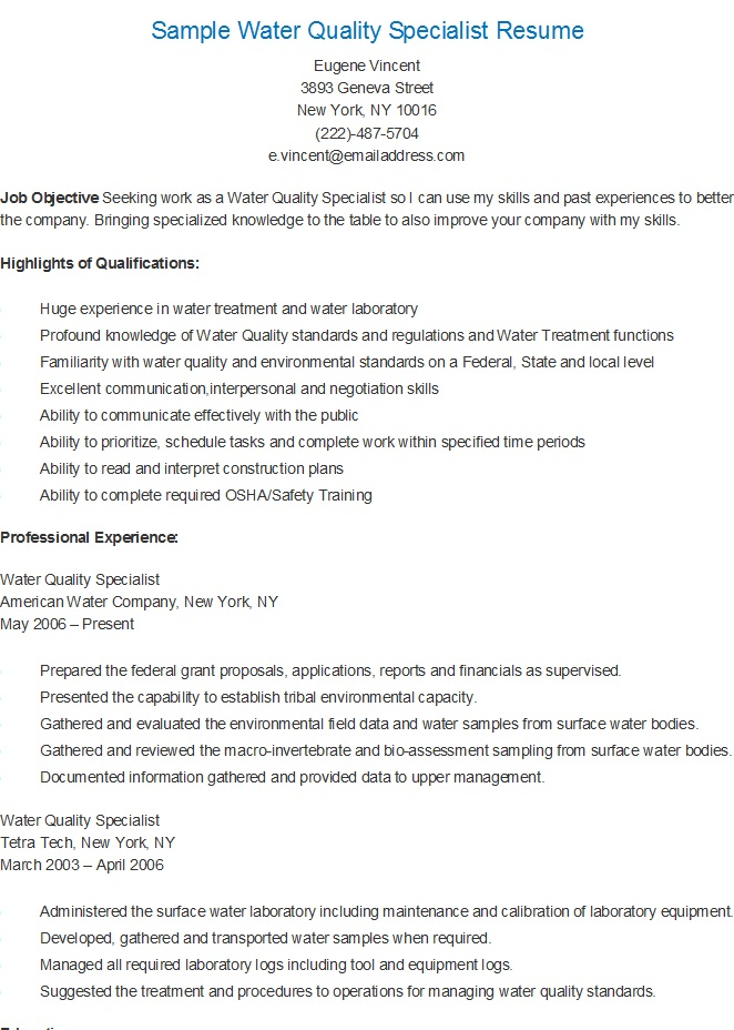 resume samples sample water quality specialist resume