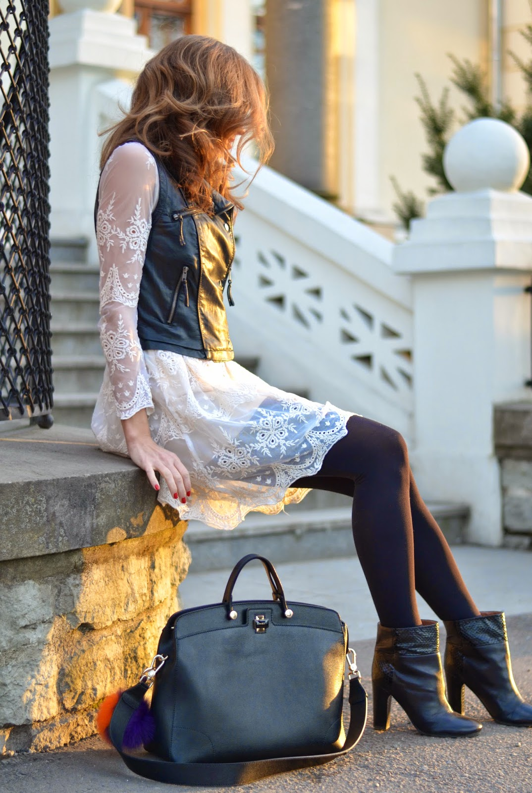 furla-black-bag-chloe-boots-chicwish-white-lace-dress
