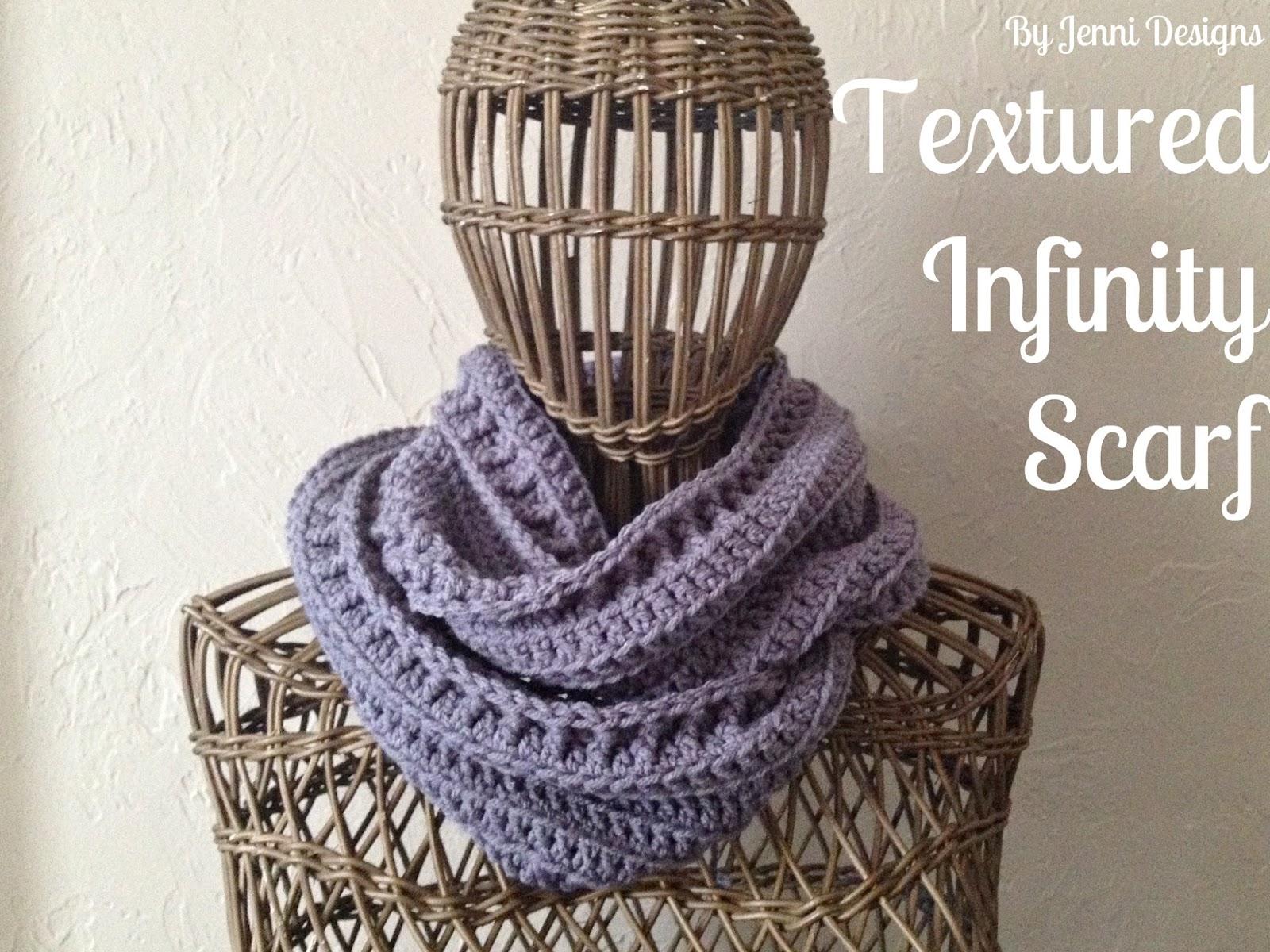 By Jenni Designs: Free Crochet Pattern: Textured Infinity Scarf
