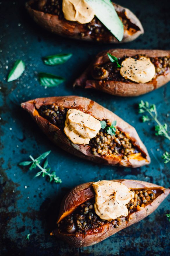 Lentil Stuffed Sweet Potatoes