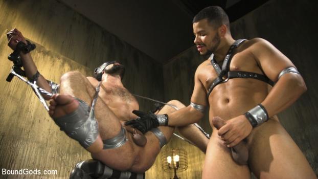Hairy tape-slave worships Master Kaden's uncut cock