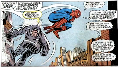 Amazing Spider-Man #58, don heck, john romita, Spider-Man leapfrogs over the spider-slayer as it climbs up a wall