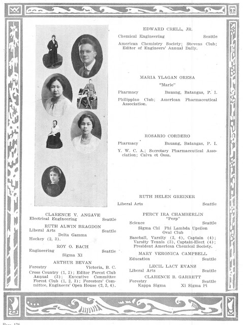 Maria Orosa, second from top, after earning a BS Pharmacy degree at the University of Washington.  Image source:  University of Washington Digital Library.