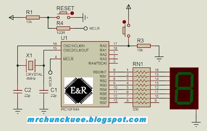 PIC16F84A & Assembler: Manejo de tablas - Controlar display de 7 segmentos