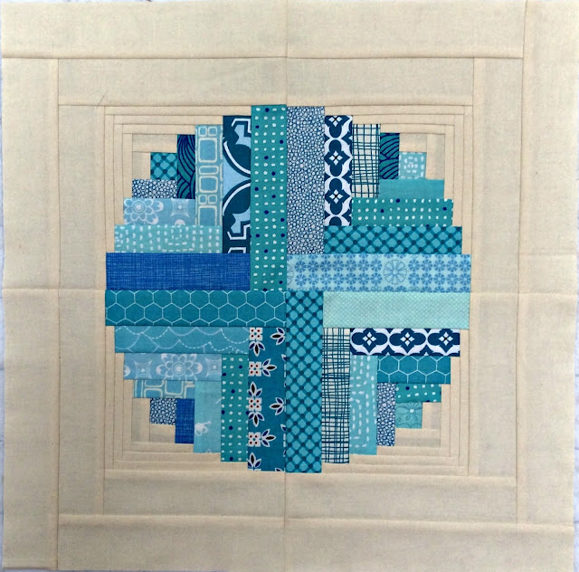 blue and cream Bubbles Bee block